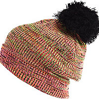Pink multicoloured fluro beanie hat