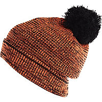 Orange contrast bobble beanie hat