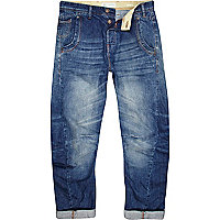 Mid wash twisted seam jeans