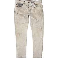 Grey distressed Dylan slim jeans