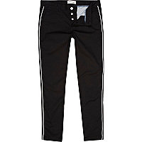 Black and white piped skinny chinos
