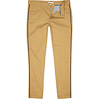Brown piped skinny chinos
