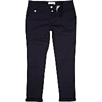 Navy skinny ankle grazer trousers
