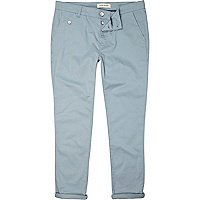 Light blue skinny ankle grazer trousers