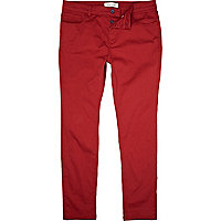 Red casual skinny trousers