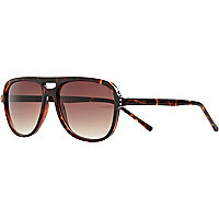 Brown Komono tortoise aviator sunglasses
