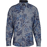 Blue floral print long sleeve shirt