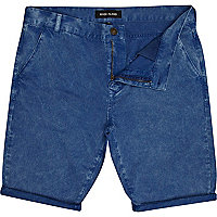 Blue washed chino shorts