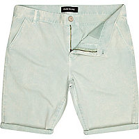 Light green washed chino shorts