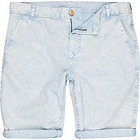 Light blue washed chino shorts