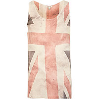 Ecru union jack faded print vest