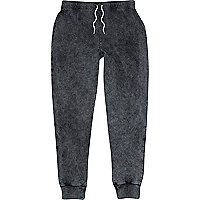 Grey acid wash cuffed hem joggers