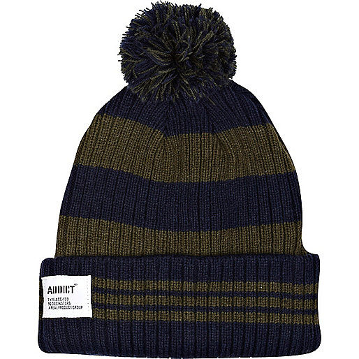 Green Addict stripe beanie hat
