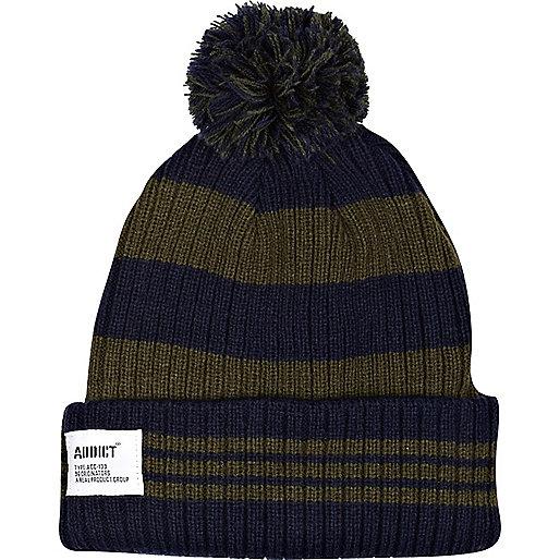 Green Addict stripe beanie hat
