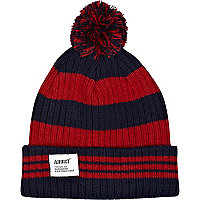 Red Addict stripe beanie hat