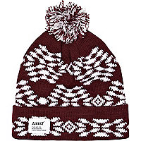 Dark red Addict fair isle beanie hat