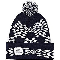 Navy Addict fair isle beanie hat