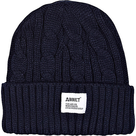 Navy Addict cable knit beanie hat