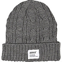 Grey Addict cable knit beanie hat