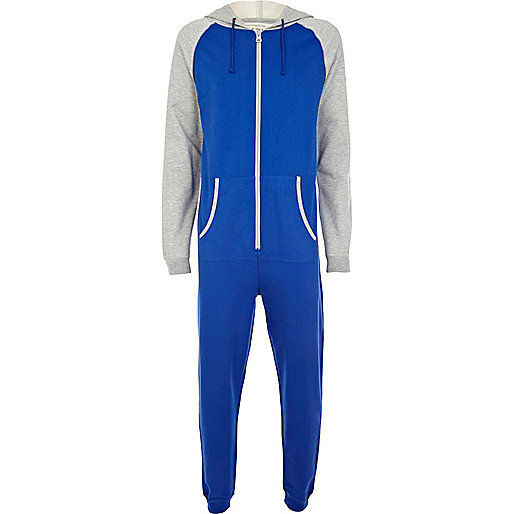Blue colour block raglan sleeve onesie
