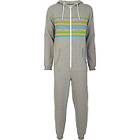 Grey placement bright stripe onesie