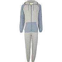 Grey colour block raglan sleeve onesie