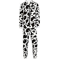 Black and white cow print onesie