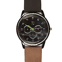 Brown colour block strap round watch