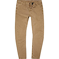 Stone washed slim trousers