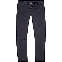 Navy washed slim trousers