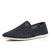 Black mesh casual slip on plimsolls