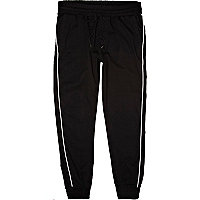 Black and white piped joggers
