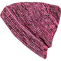 Pink fluro and black twisted knit beanie hat