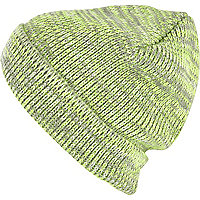 Grey neon twist knit beanie hat