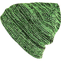 Green and black twist knit beanie hat