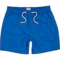 Bright blue mid length swim shorts