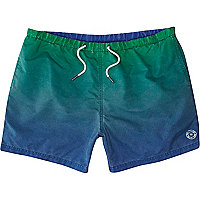 Blue and green dip dye swim shorts