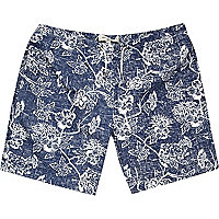 Blue floral print mid length swim shorts