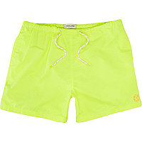 Neon yellow short swim shorts