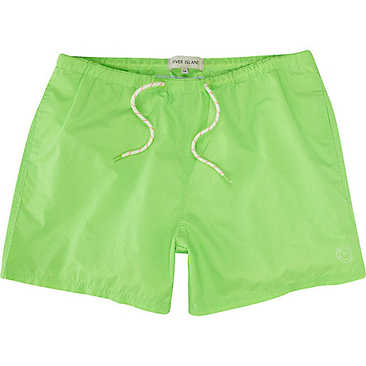 Neon green short swim shorts
