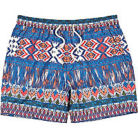 Blue ikat print short swim shorts