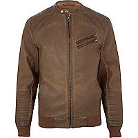 Brown quilted panel biker jacket