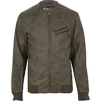 Grey quilted panel biker jacket