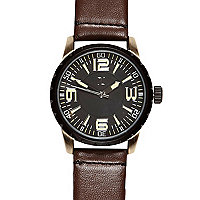Brown oversized face watch
