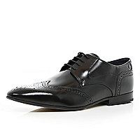Black Base high shine pointed brogues