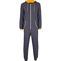 Dark grey contrast trim novelty onesie