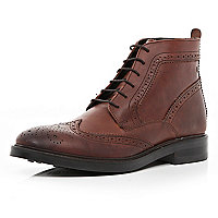 Brown Base lace up brogue boots