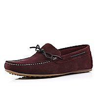 Dark red suede boat shoes