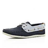 Navy contrast stripe panel boat shoes
