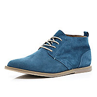 Blue suede lace up desert boots